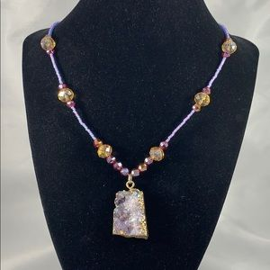 Druzy pendant w/ crystal & glass accent necklace
